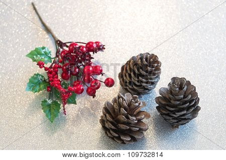 Christmas Berry Decorations And Pine Cones