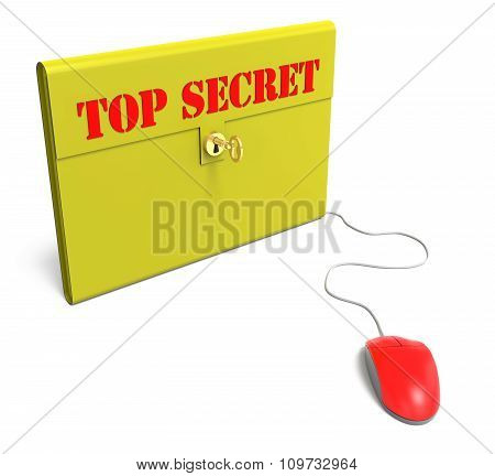 Yellow Top Secret Briefcase With Computer Mouse
