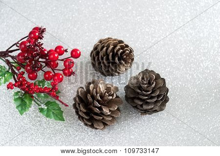 Christmas Decorations - Holly And Pine Cones