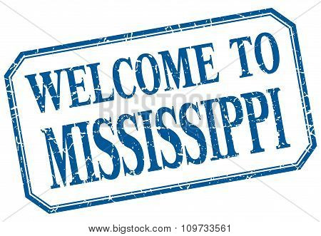 Mississippi - Welcome Blue Vintage Isolated Label