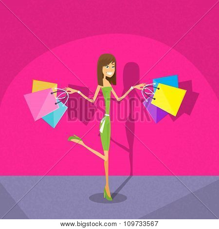 Shopping Woman with Bags Pink Background