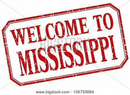 Mississippi - Welcome Red Vintage Isolated Label