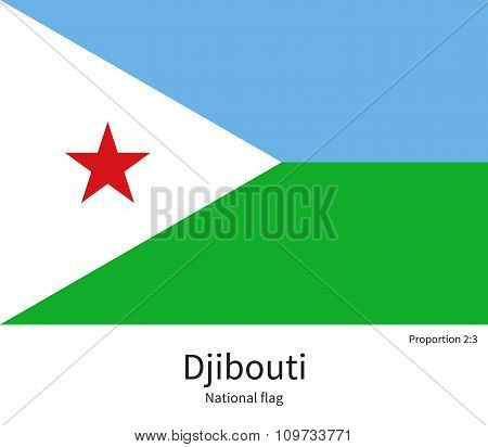 National flag of Djibouti with correct proportions, element, colors