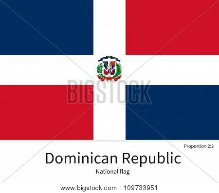 National flag of Dominican Republic with correct proportions, element, colors