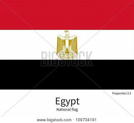 National flag of Egypt with correct proportions, element, colors