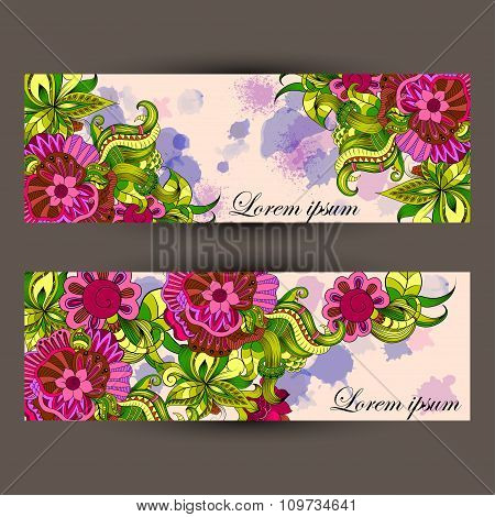 Greeting card with filigree hand-drawing pattern