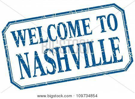 Nashville - Welcome Blue Vintage Isolated Label
