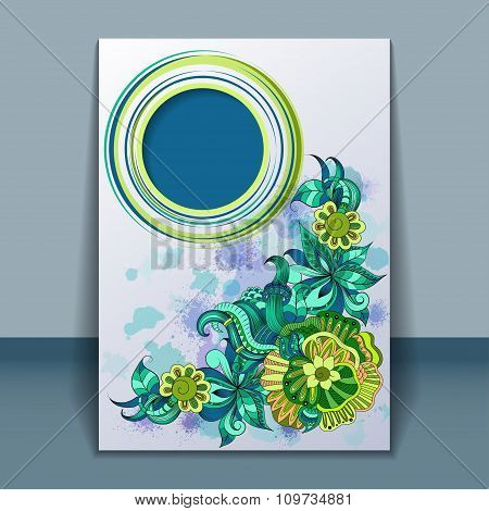 Card with filigree hand-drawing ornaments