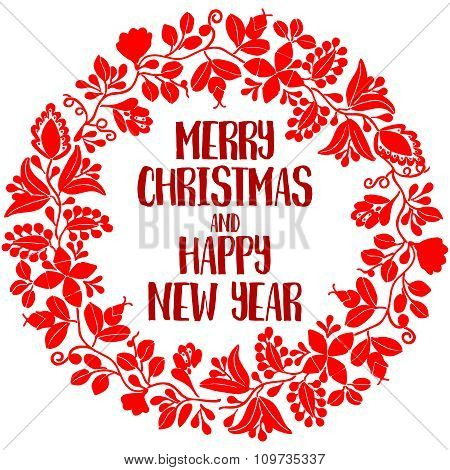 Merry Christmas and Happy New Year vector card with wreath