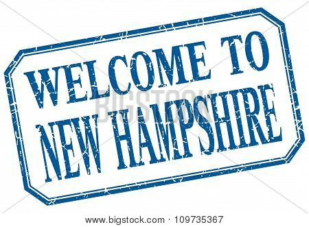 New Hampshire - Welcome Blue Vintage Isolated Label