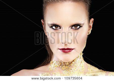 Glamour Makeup Model Portrait, Gilded Body Paint