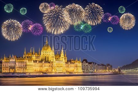 Beautiful fireworks under hungarian Parliament