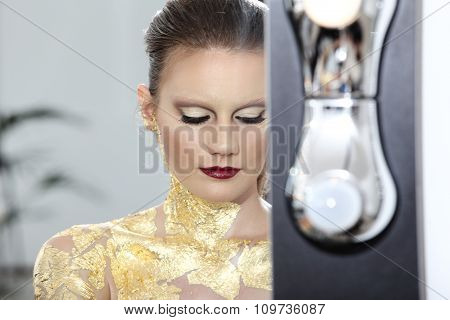 Make Up  Model At Mirror, Gilded Body Paint