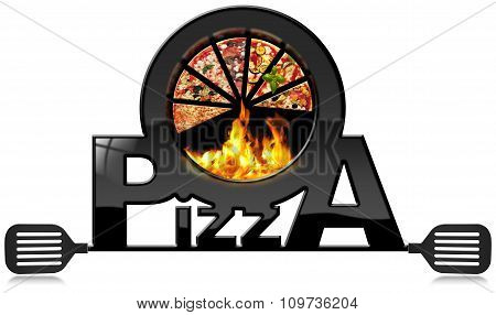 Black Symbol Of Pizza With Flames