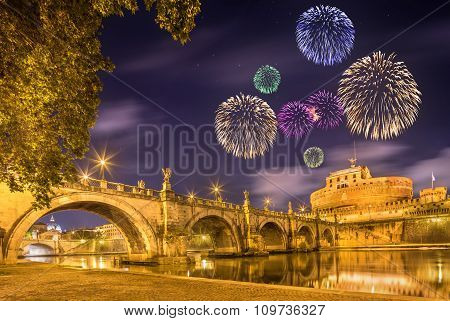 Fireworks under Castle of Holy Angel