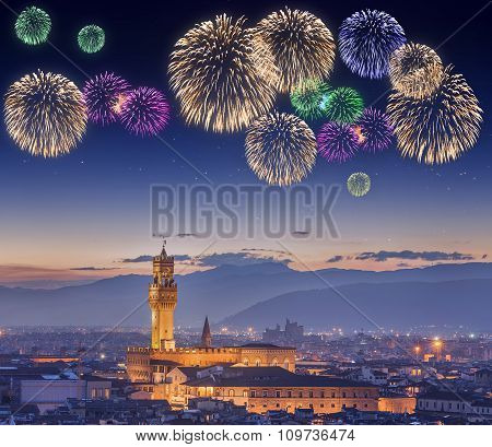 Beautiful fireworks under Ponte Vecchio Florence