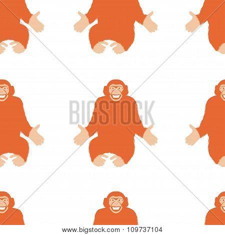 Seamless Pattern Of A Monkey Chimpanzee.