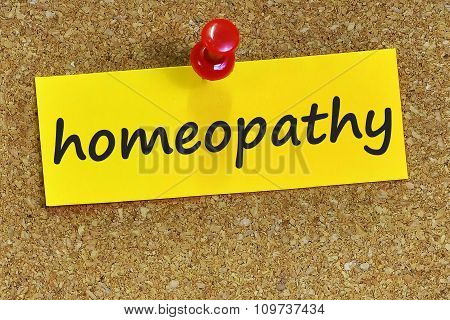 Homeopathy Word On Yellow Notepaper With Cork Background