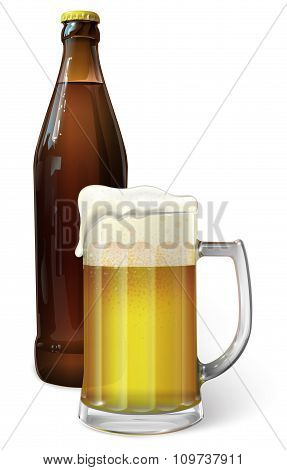 Mug with beer and beer in a bottle, vector