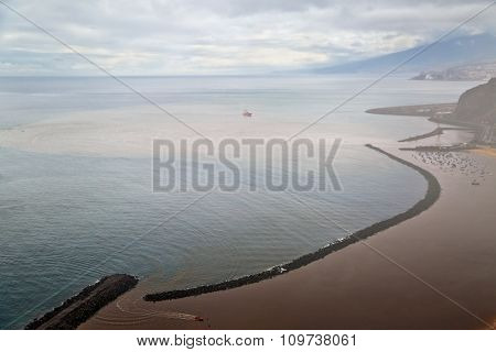 View from the mountains to the  Las Teresitas beach near Santa Cruz city in Tenerife, Canary Islands, Spain