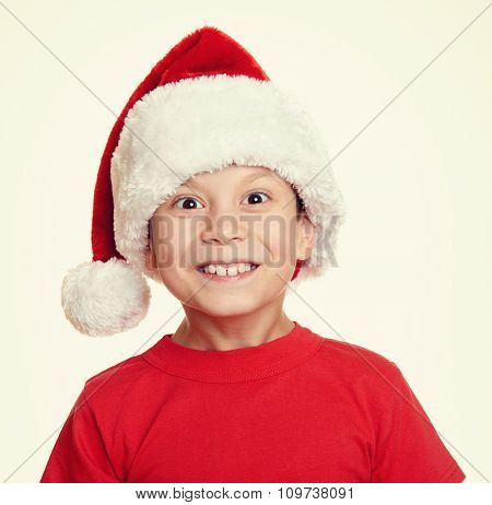 boy in santa helper hat portrait