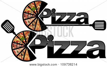 Pizza - Black Symbol With A Slices Of Pizza
