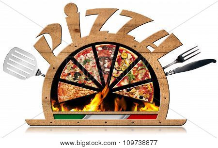 Wooden Symbol Of Italian Pizza With Flames