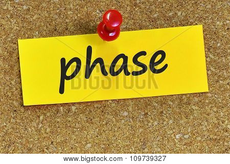 Phase Word On Yellow Notepaper With Cork Background