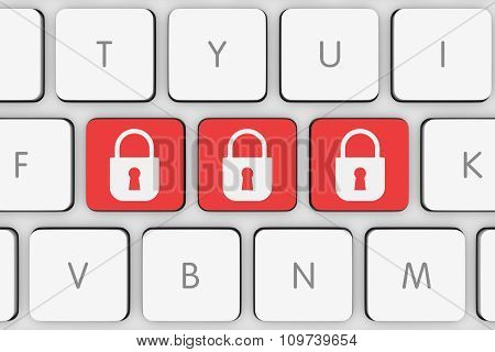 Red Padlock Icon Buttons On White Computer Keyboard
