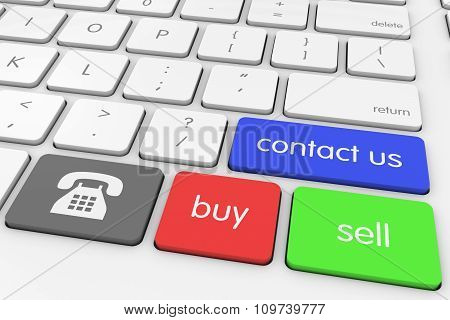 'contact Us' Buy And Sell Via Phone Computer Keys On White Keyboard