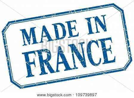 France - Made In Blue Vintage Isolated Label