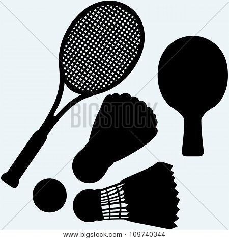 Ping pong, tennis and badminton racket and shuttlecocks