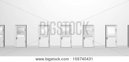 Illustration of many office doors lining a hallway