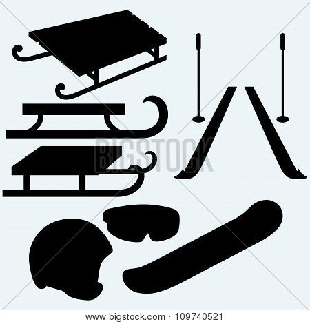 Set equipment for snowboarding, pair skis and wooden sled
