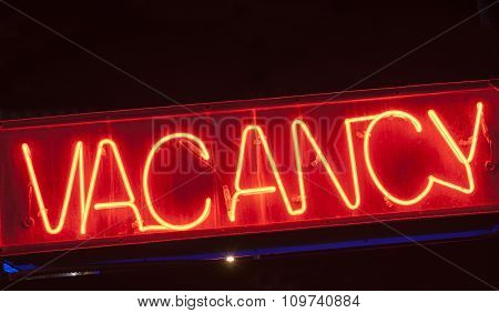 Neon Vacancy Sign For Motel.