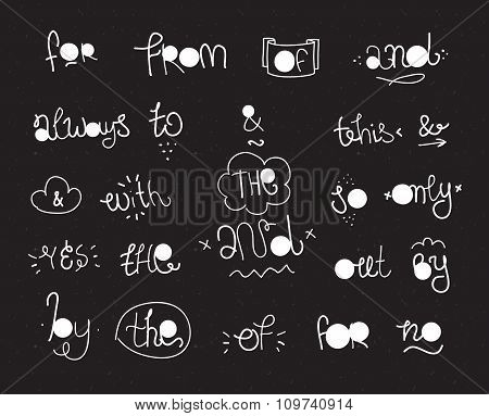 Vector hand drawn ampersands and catchwords.
