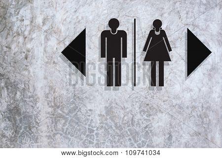 Restroom Sign On Concrete Texture