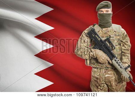 Soldier Holding Machine Gun With Flag On Background Series - Bahrain