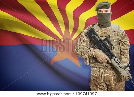 Soldier Holding Machine Gun With Usa State Flag On Background Series - Arizona