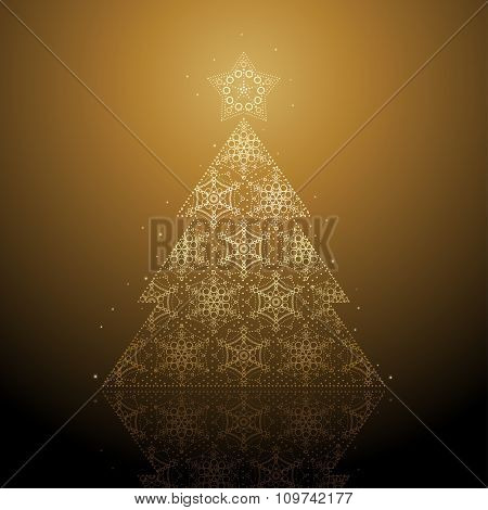 Merry Christmas card with stylized Tree
