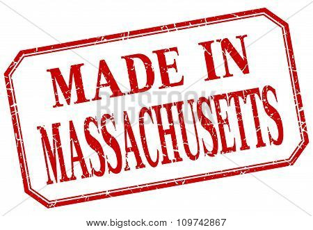 Massachusetts - Made In Red Vintage Isolated Label
