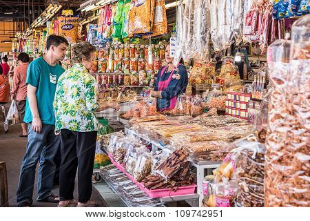 Shoppers Buys Dried Seafood.