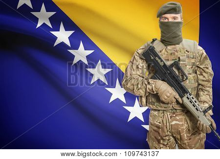 Soldier Holding Machine Gun With Flag On Background Series - Bosnia And Herzegovina