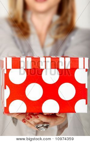 Polka Dot Red Gift Box