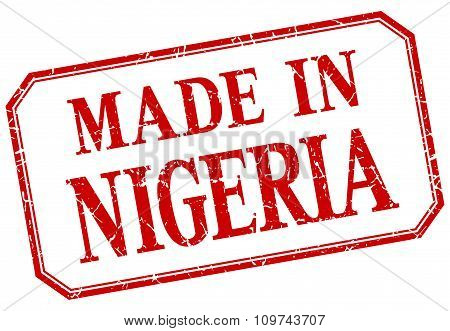 Nigeria - Made In Red Vintage Isolated Label
