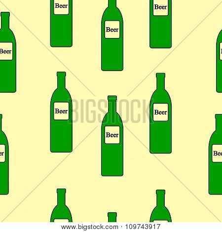 Beer Bottle Seamless Pattern.