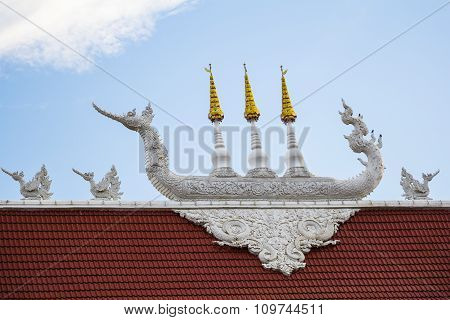 Roof Detail Of Wat Huay Pla Kang Temple Chiangrai,thailand