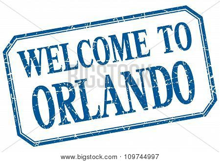 Orlando - Welcome Blue Vintage Isolated Label