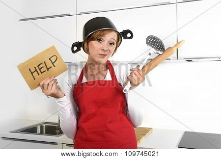 Beautiful Cook Woman Confused And Frustrated Face Expression Wearing Red Apron Asking For Help Holdi