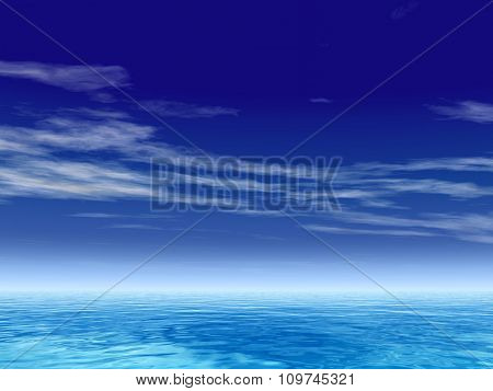 High resolution concept conceptual sea or ocean water waves and sky cloudscape exotic or paradise background